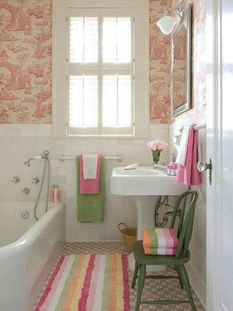 Contemporary Art Websites Start with a basic white bathroom add some fantastic modern toile wallpaper