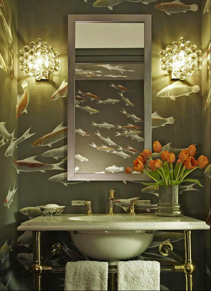 Chinoiserie wallpaper japanese korean fishes design in for Koi fish bathroom decorations