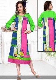 Casual Wear Green Rayon Printed Kurti