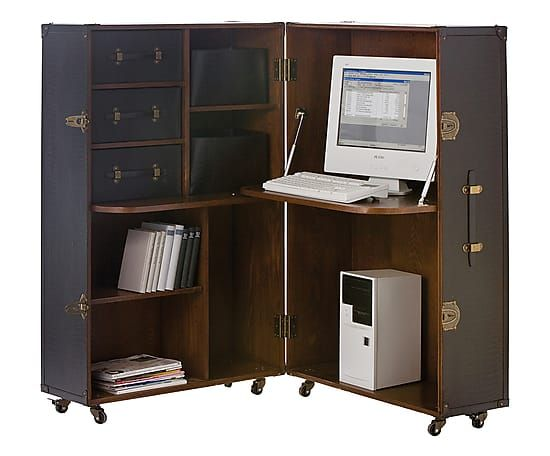 Angolo ufficio a baule in mdf Office - 57x133x81 cm