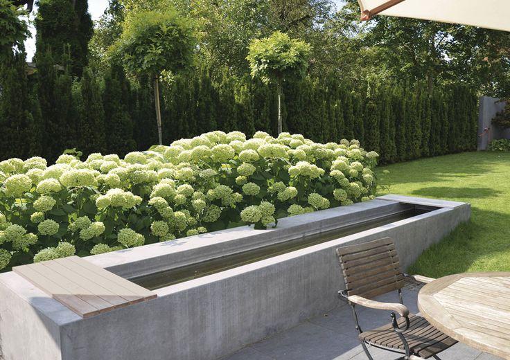 Wasser im Garten ist einfach ein Muss. Wunderbar, wenn es so herrlich in eine klare Gartengestaltung eingebunden ist. Am Fuße eines großzügigen Hortensienbuschs. Mit Sitzgelegenheit direkt am Rand des Wasserbeckens oder am Tisch. Einerlei. Hier findet die Seele ihre Ruhe.