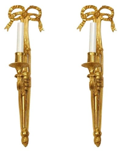 I want! Pair of Dore Bronze Louis Xvi Style Single Candle Sconces