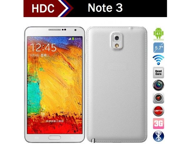 HDC Galaxys Note 3 N9000 5.7 Inch True 1280x720 IPS Display True MTK6582 Quad Core 1.3GHz CPU Dual Camera: 3MP +13MP Android 4.4 Kitkat OS Smartphone Air Gesture Smart Screen + Free Gifts