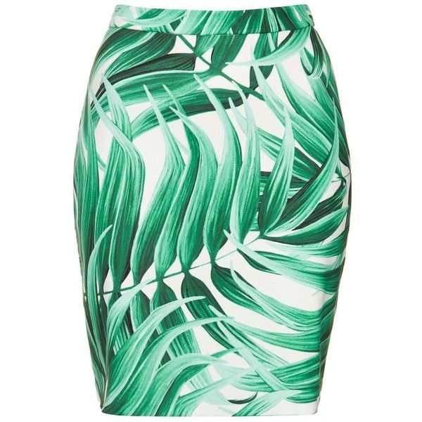 Tropical Leaf Print Pencil Skirt ❤ liked on Polyvore featuring skirts, green skirt, pencil skirt, green pencil skirt, knee length pencil skirt and leaf skirt