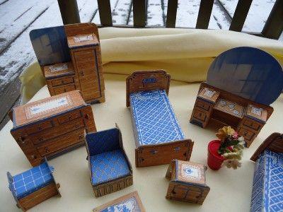 Cardboard Doll Furniture | Vintage Cardboard Paper Dollhouse Furniture Lot  EXC | EBay