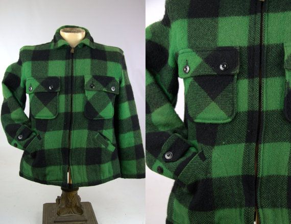 1950s Hunting Jacket Roomy Richard Shadow Plaid Union Made Mackinaw Style Wool Hunting Jacket