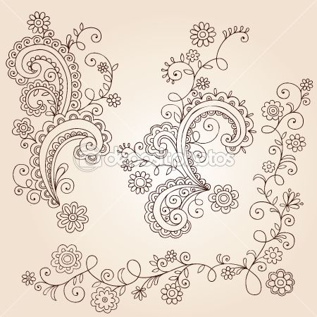 Henna Mehndi Paisley Flowers and Vines Doodle Vector Design by blue67 - Stock Vector