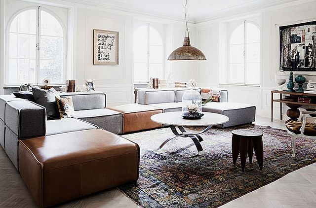 large sectional, lots of seating while unique