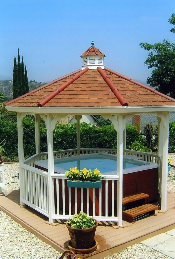 Gallery featuring great pictures of 26 spectacular hot tub gazebo ideas showcasing the wild range of structures you could have in your own yard