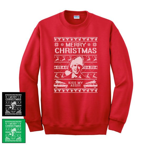 Ugly Christmas Sweater  Kiss my ass  Christmas by JennysSweetTees