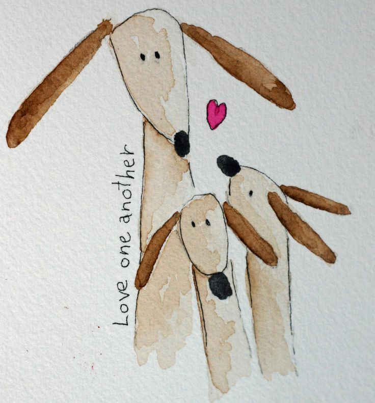 Love One Another - original small watercolor, brown dog family, simple, whimsical, pen and ink, heart, inspirational, children, nursery art. $10.25, via Etsy.