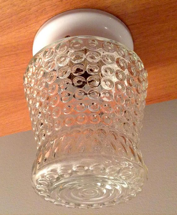 Pebble Glass Ceiling Light Fixture Jelly Jar Type Glass Ceiling