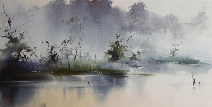 Ilya Ibryaev - Foggy morning - watercolor -53х27 cm