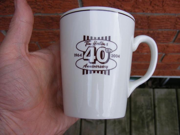 RARE TIM HORTONS 40TH ANNIVERSARY MUG/COFFEE CUP PROMOTIONAL ADVERTISING NR | eBay