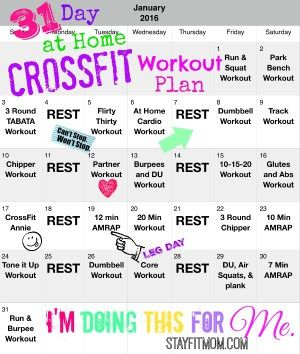 31 day at home crossfit workout plan  crossfit workout
