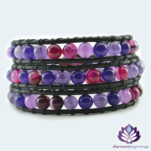 OurInspiration mix wrap bracelet has been designed witha combination of natural light Amethyst, deep purpleAmethyst, Alexandrite and Pink Stripe AgateGemstones.What a wonderful piece to wear! The natural properties of these stones make this a power wrap bracelet. Amethyst will help you connect with your spirit at the deepest level, a master healer stone and excellent aid for meditation. Promoting and strengthening Love and Joy in your life ...