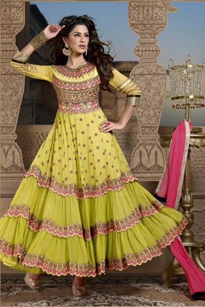 Yellow Faux Georgette Anarkali Suit with Resham Work,Patch Work,Embroidery and Lace Work