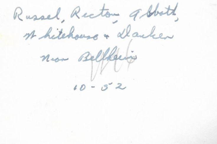 "This is a Korean War Photo  This Korean War Photo States: "" Russel, Rector(?), Abbott, Whitehouse &Danken(?) near Bellheim   (Belheim Germany)  Back of Photo  The Photo is dated October 1952  Page 2 of 2"