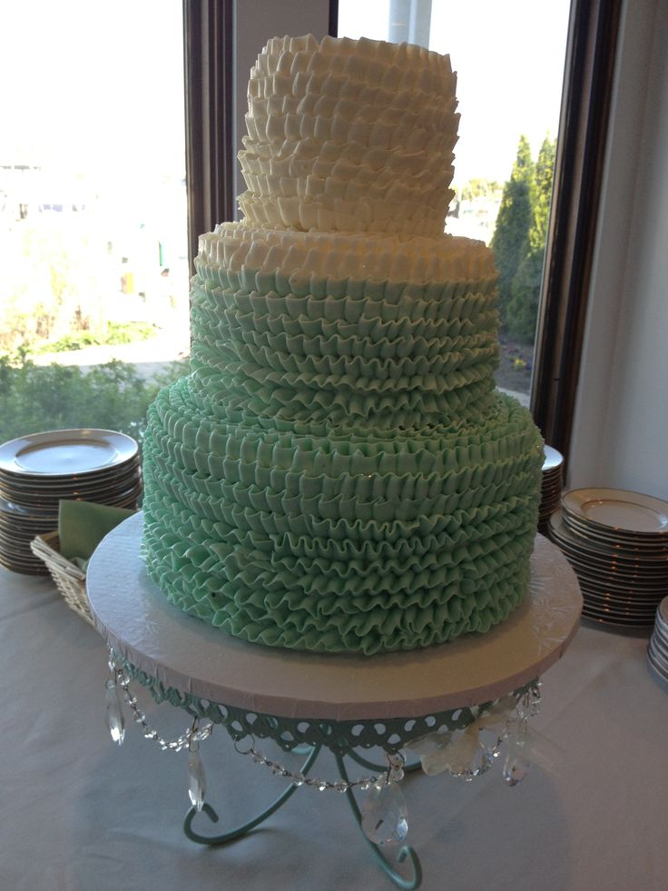 Ombre Sea Foam Green Wedding Cake
