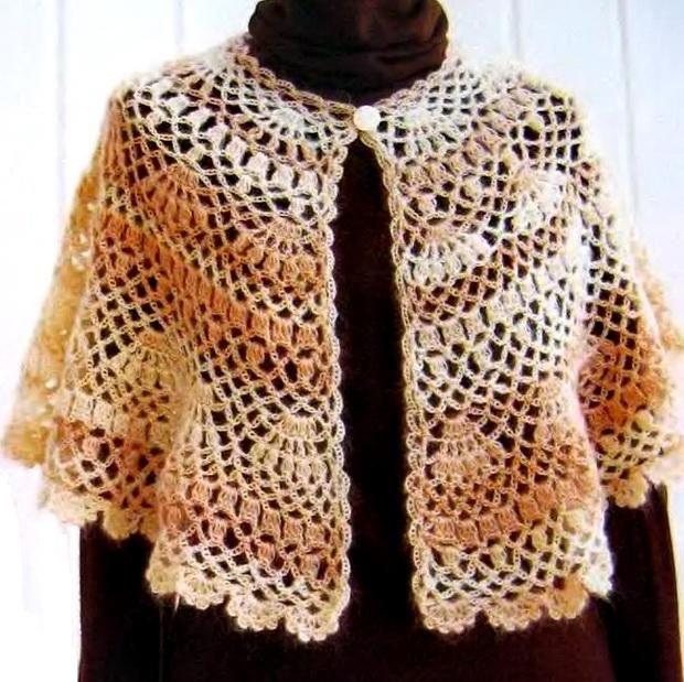 Crochet Shawls: Outerwear Cape For Women - Crochet Cape Pattern diagram