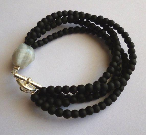 Black beaded multistrand bracelet  grey gemstone by GIASEMAKI