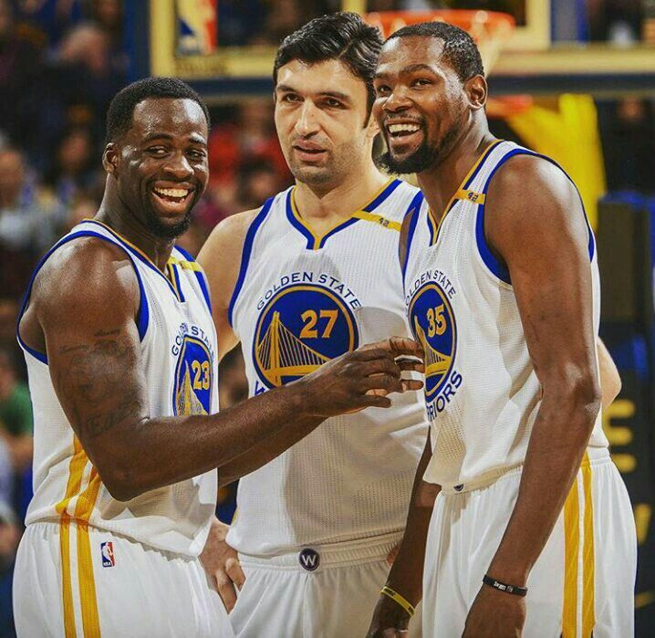 Draymond Green, Zaza Pachullia and Kevin Durant #goldenstate2017 #superteam #warriors