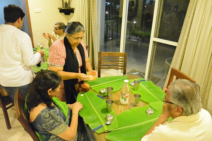 #Serving #meal in #traditional #keralian way using  #Banana #leaf