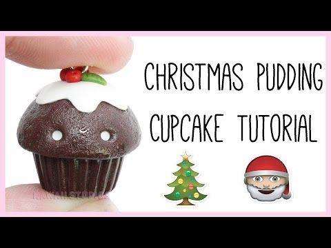 Kawaii Christmas Pudding Cupcake polymer clay tutorial
