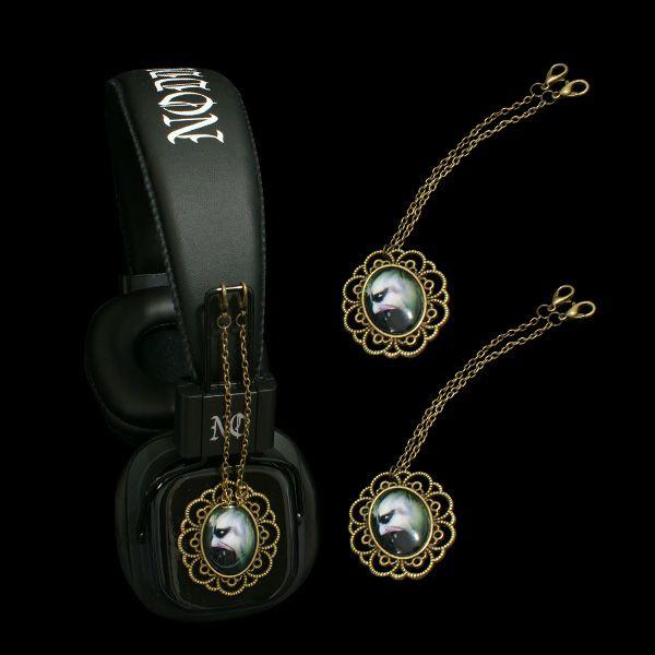 Headphones with attachable pendants  ------- http://noddders.com/product/headphones-vampire-pendants/  --------- #subculture #gothic #noddders #retro #vintage #comics #dark #creepy #monster #vampire #devil #evil #blood #horror #goth #punk #blackjewelries #gothstyle #gothicfashion #skulls #alternative #underground #collection #collectibles #style #stylish #cemetery #graveyard #macabre #headphones