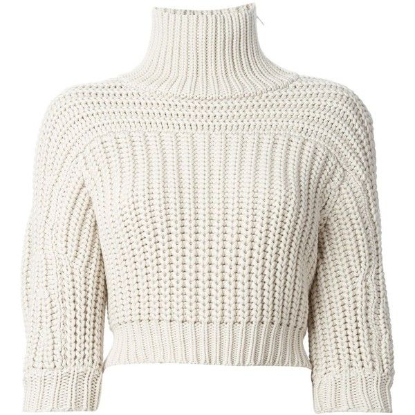 Brunello Cucinelli cropped roll neck sweater found on Polyvore