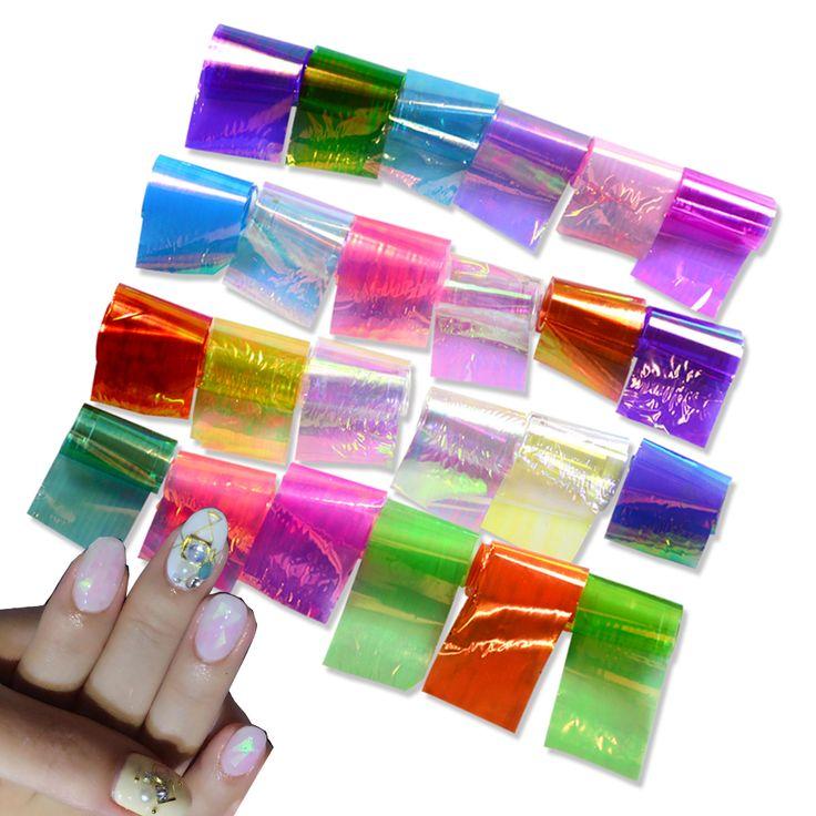 Sara Nail Salon 24pcs/Set Starry Sky Nail Sticker Broken Glass Water Decals Mirror Effect For Nails Art Tips Decoration ND285