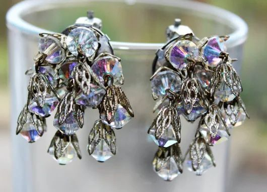 Dangly Sparkly Crystal Cluster Clip On Earrings by GillardAndMay