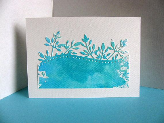 5X7 Turquoise Teal Watercoloured Foliage Edging on Creamy handmade by aboundingtreasures on etsy.ca