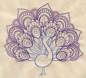Delicate Peacock design (UT4430) from UrbanThreads.com  LOTS of lovely machine embroidery patterns