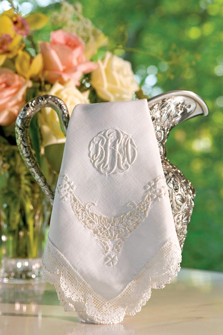 sterling silver iced tea pitchers & monogrammed linen ~ we must be in the south