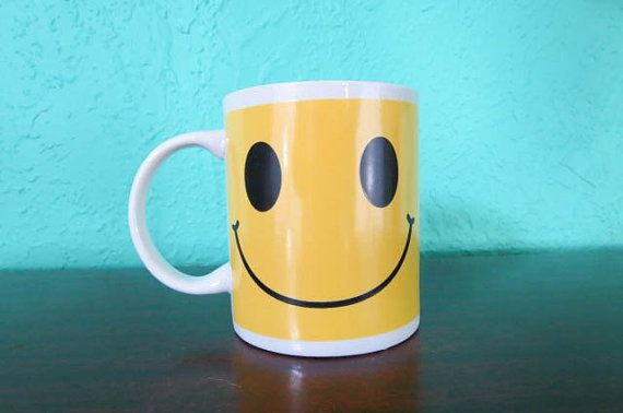 Put on Your Happy Face Yellow Smiley Face Coffee Mug by AdoredAnew