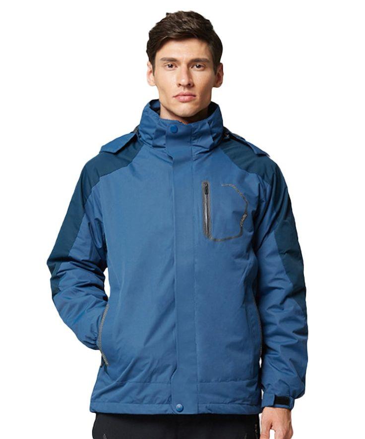 Insun Men's Winter Outdoor Windbreaker Waterproof Sport Hoodie Jacket Denim Blue. Polyester. Zip clouse,twinset: hoodie jaket and inner polar jacket. Long sleeve,regular fit,thicken lining,velcro cuff. Waterproof,windproof,anti-scratch,breathable,quickly drying. Sport hoodie jacket featuring detachableset,elastic strap hem and colorblock design,keep warmth and lightweight.