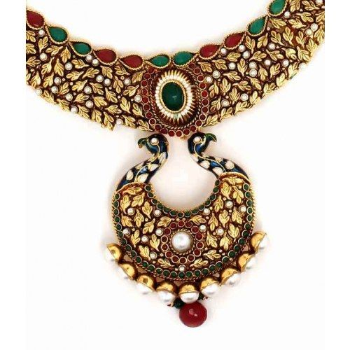 Aradhyaa Traditional Peacock Design Necklace Set - Online Shopping for Necklaces by Aradhyaa Jewel Arts