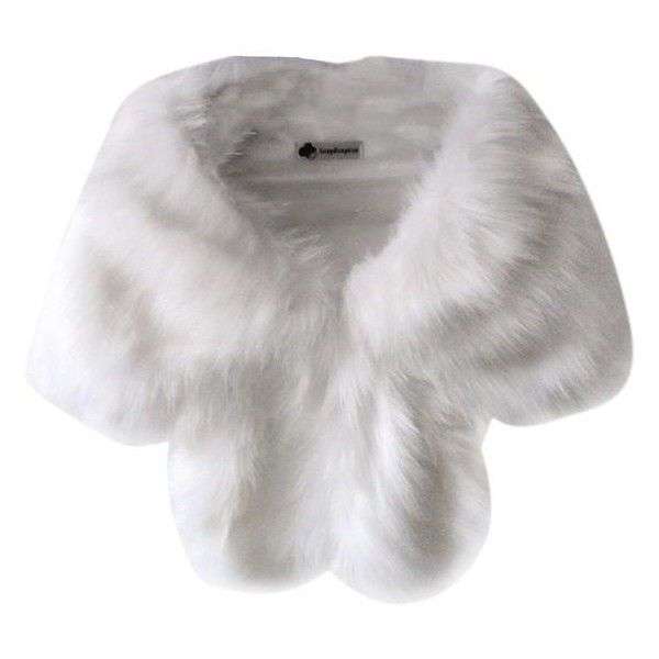 HUBEE Ladies Women's Faux Fox Fur Capes Jacket Cloak Coat Shawl 7 Colo ❤ liked on Polyvore featuring outerwear, jackets, accessories, fur, scarves, white cloak, shawl cape, fox fur cape, fox fur shawl and white cape coat
