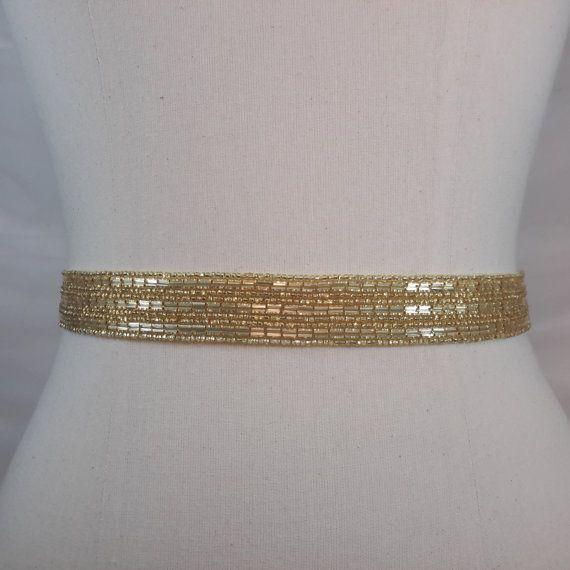Gold Wedding Sash Bridal Belt Thin Gold Belt. by BestFriendBridal