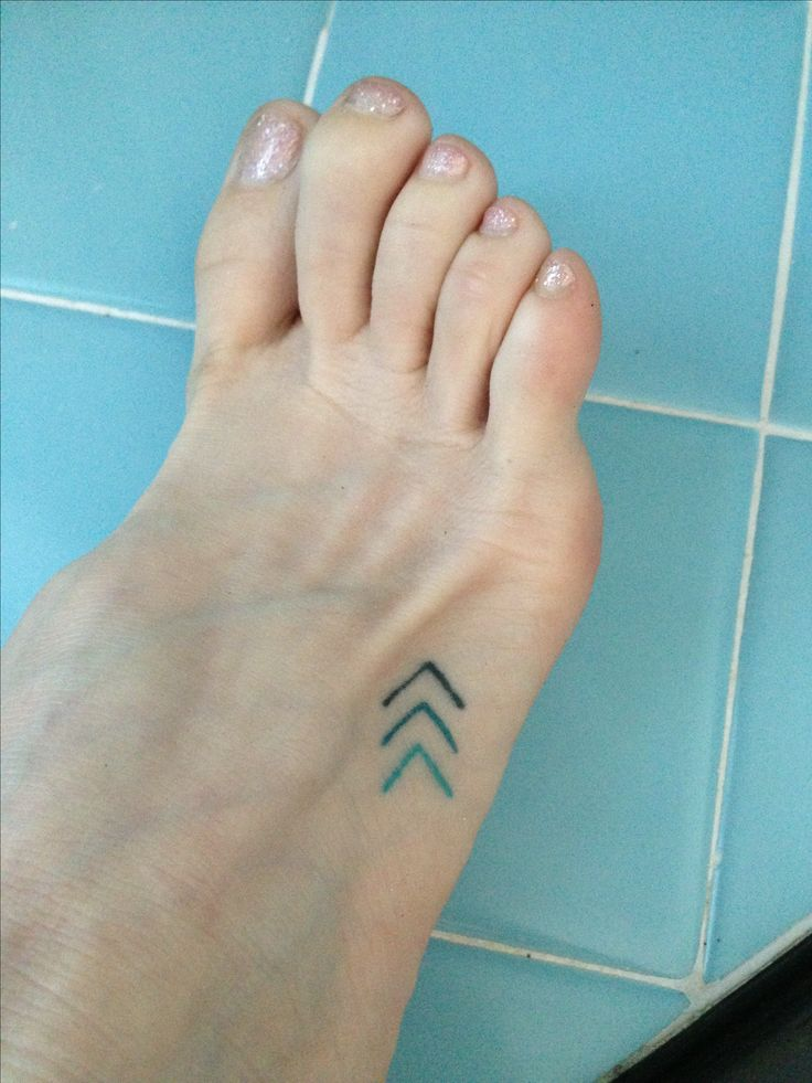 Tiny triple blue chevron foot tattoo. Move forward. small | arrows | color | gradient >>>