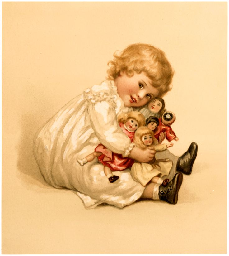 Vintage Girl with Dolls Image! - The Graphics Fairy