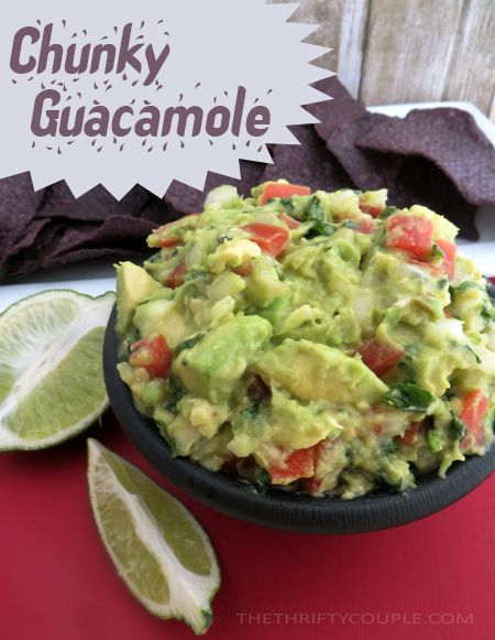 Chunky Guacamole Recipe - recipes with fresh avocados are awesome, but especially fresh homemade guacamole. It's also an affordable appetizer that will feed many on a small budget!