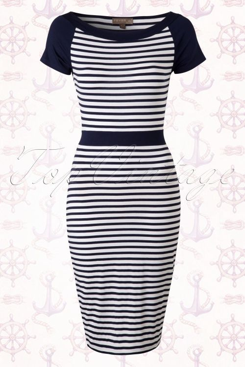 Fever Albers Cap Sleeve Navy Blue Striped Sailor Dress 100 39 15875 20150415 0007W