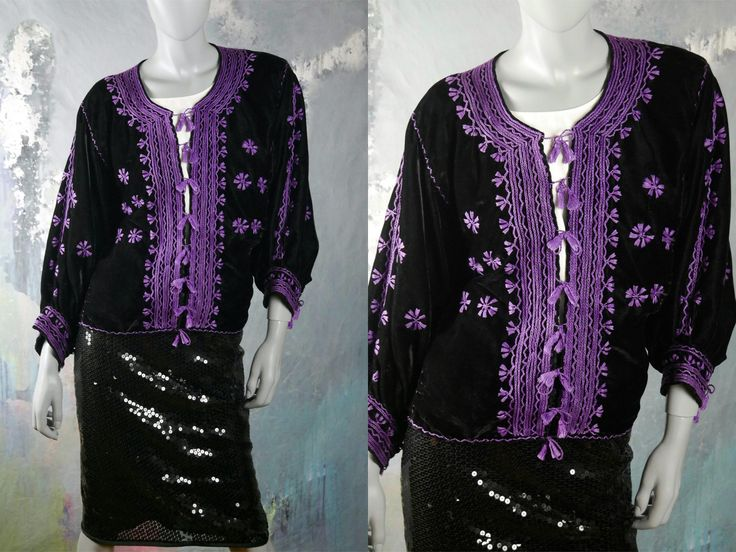 Velvet Top, Elegant Black Velvet w Lilac Purple Silk Embroidery and Tassel Ties Exotic-Looking Blazer/Jacket Top: Size 12 (US), Size 16 (UK) by YouLookAmazing on Etsy