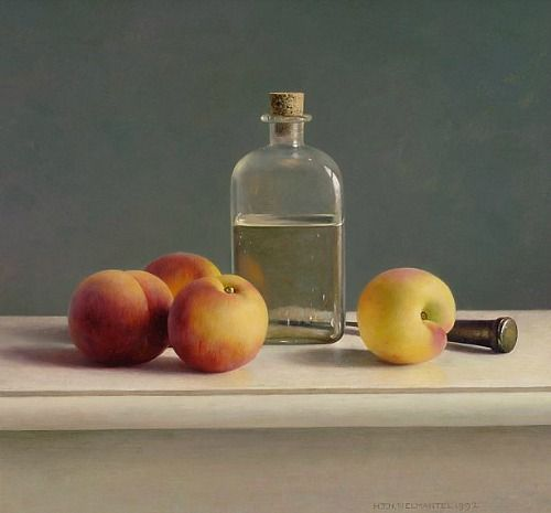 Henk Helmantel Still Life with Bottle and Peaches 1992 - still life quick heart