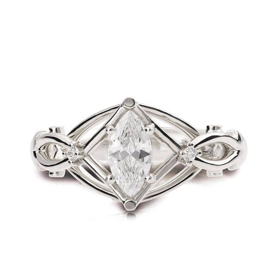 Celtic Engagement Ring, Marquise Cut Diamond engagement ring, Marquise diamond ring, unique engagement ring, Knot ring, White gold, ENG9