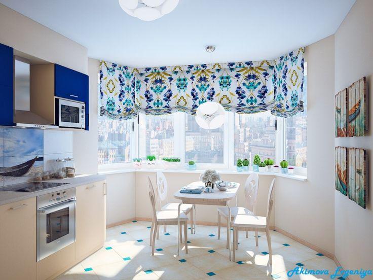 Кухня в синих тонах, синие акценты в интерьере кухни
