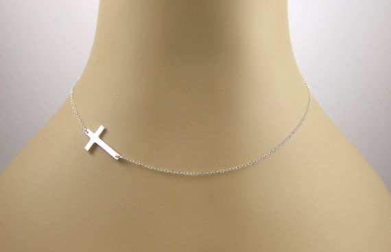 Side Cross Necklace from etsy.