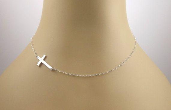 Kelly Ripa Sideways Cross Necklace Sterling by DazlingJewels, $29.00